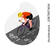a cyclist in uniform and a... | Shutterstock .eps vector #1087897604