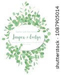 festive oval frame  wedding... | Shutterstock .eps vector #1087905014