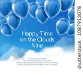 happy time on the clouds nine ... | Shutterstock .eps vector #1087913078