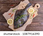 raw flounder plaice fish ... | Shutterstock . vector #1087916390