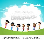 group of children going to... | Shutterstock .eps vector #1087925453