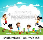 children playing outdoors on... | Shutterstock .eps vector #1087925456
