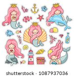 little mermaids  princess ... | Shutterstock .eps vector #1087937036