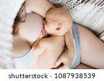 happy mother is breast feeding... | Shutterstock . vector #1087938539