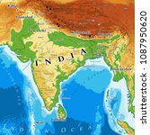 india physical map. elements of ... | Shutterstock .eps vector #1087950620