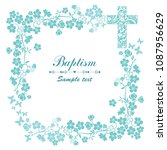 baptism card design with cross. ... | Shutterstock .eps vector #1087956629