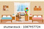 Children bedroom interior with two beds, holiday balloons, toys, table with desktop computer and window. Design of sleeping room for children. Vector illustration. | Shutterstock vector #1087957724