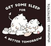 cute dog sleeping  character... | Shutterstock .eps vector #1087957976