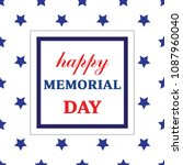 memorial day greeting card.... | Shutterstock .eps vector #1087960040
