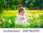 beautiful little baby girl  has ... | Shutterstock . vector #1087962593