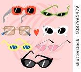 set of trendy sunglasses in fun ... | Shutterstock .eps vector #1087965479