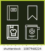 set of 4 bookmark outline icons ... | Shutterstock .eps vector #1087968224