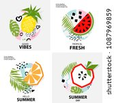 trendy tropic  background with... | Shutterstock .eps vector #1087969859