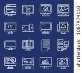 set of 16 monitor outline icons ... | Shutterstock .eps vector #1087974110