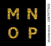 golden broken m n o p letters ... | Shutterstock .eps vector #1087977503