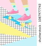 fun cartoon illustration with... | Shutterstock .eps vector #1087977743
