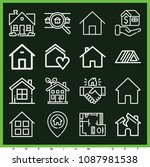 set of 16 house outline icons... | Shutterstock .eps vector #1087981538