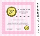 pink certificate of achievement....   Shutterstock .eps vector #1087982390