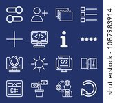 set of 16 web outline icons... | Shutterstock .eps vector #1087983914