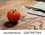 top view of red ripe tomato ... | Shutterstock . vector #1087987394