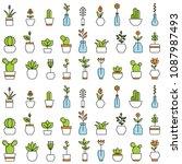 home flowers seamless pattern | Shutterstock .eps vector #1087987493