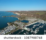 beautiful boats. aerial view of ... | Shutterstock . vector #1087988768