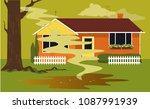 puddle of sewage in a backyard... | Shutterstock .eps vector #1087991939