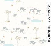 seamless pattern with elephants ...   Shutterstock .eps vector #1087995419