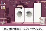 flooded basement laundry room... | Shutterstock .eps vector #1087997210
