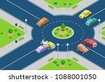 car crash  vector isometric 3d... | Shutterstock .eps vector #1088001050
