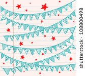 bunting flags on a lined... | Shutterstock .eps vector #108800498