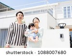 portrait of asain family on... | Shutterstock . vector #1088007680