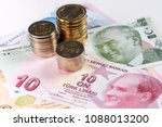 turkish lira banknotes and... | Shutterstock . vector #1088013200