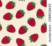 vector seamless strawberry... | Shutterstock .eps vector #1088018654