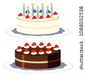 cream and chocolate cake on... | Shutterstock .eps vector #1088032538