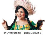 brazilian woman wearing typical ... | Shutterstock . vector #1088035358