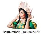 brazilian woman wearing typical ...   Shutterstock . vector #1088035370