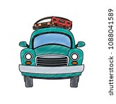 car with luggage on top scribble | Shutterstock .eps vector #1088041589