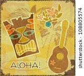 retro hawaiian postcard  ... | Shutterstock . vector #108805574