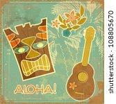 vintage hawaiian card  ... | Shutterstock . vector #108805670