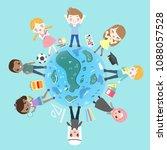 cute cartoon diverse children... | Shutterstock . vector #1088057528