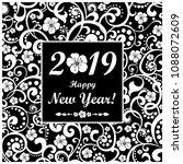 happy new year 2019.... | Shutterstock .eps vector #1088072609
