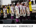 Small photo of Jerusalem Israel May 10, 2018 The celebrations of the Middle Kingdom of the Golden Tooth Festival at the Old city of Jerusalem, The dance of unstoppable joy on the festival stage in the evening