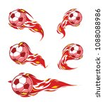 football symbols set. red fire...   Shutterstock .eps vector #1088088986