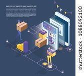 isometric smart phone online... | Shutterstock .eps vector #1088092100