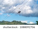 tourists on the zip line at... | Shutterstock . vector #1088092706