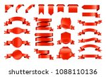 red ribbons set. collection of... | Shutterstock .eps vector #1088110136