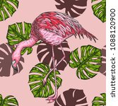 palm leaf with flamingo pattern ... | Shutterstock .eps vector #1088120900