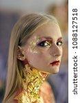 halloween makeup  visage. girl...   Shutterstock . vector #1088127518