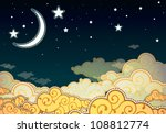 Cartoon style night sky